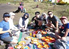 Having lunch during the hike to Mt. Semeru - East Java