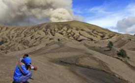 The sea of sand that surrounds Mt. Bromo in East Java