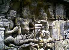 Reliefs at the Borobudur temple in Yogyakarta