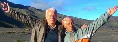 Driver Mul with his guest at the black Sea of Sand - Mt. Bromo, East Java