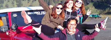Driver Yuli with a French group of friends at Mt. Bromo