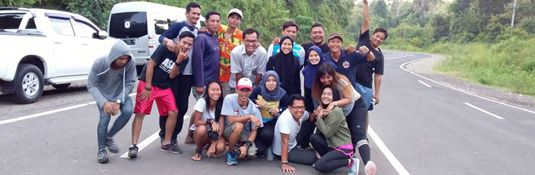 Running last part to Ngudel beach as part of training for the Bromo marathon 2018, group picture - Malang regency, East Java, Indonesia