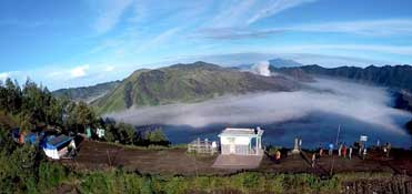 Camping on the ancient caldera in which the volcano Bromo sits - East Java